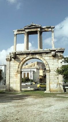The Arch of Hadrian, with the Acropolis poking through in the distance. Athens, Greece Life In Greece: Athens Attica Athens, Athens Greece, Acropolis, Ancient Greece, Capital City, Cyprus, Places Ive Been, Distance, Gazebo