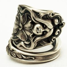 Art Nouveau Goddess and Pansy Flower Figural Sterling by Spoonier, $90.00