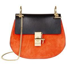 Chloé Small Drew Leather And Suede Shoulder Bag in Orange Chloe Purses, Chloe Handbags, Suede Handbags, Purses And Handbags, Orange Handbag, Orange Purse, Shoulder Handbags, Shoulder Bags, Suede Leather