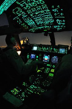 Night flight Military Transporter Flightdeck