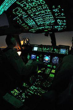 Night flight Military Transporter Flightdeck