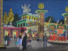 'Battersea Park Fairground by Night' Watercolour & Gouache on Paper: 28 x 37 cm Signed & Dated 1955, titled verso by Clodagh Sparrow (1905 - 1957)