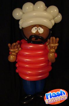 """""""They turned me into a balloon children!""""  A piece of balloon fan art from Edmonton based artist Phileas Flash. This tribute to Chef from South Park was made for a birthday party and stood at about 3 1/2 foot tall"""