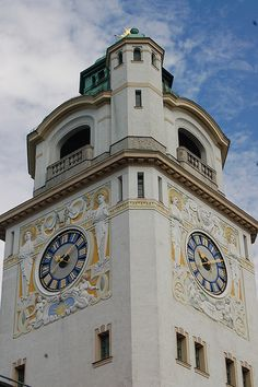 CLOCK~Munich Germany City Bath House Clock Tower