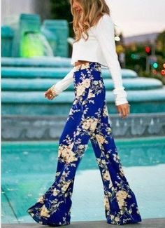 Flower Print Straight Casual High Waist Flared Pants - Oh Yours Fashion - $23