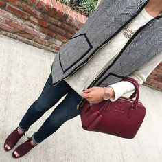 herringbone puffer vest, petite ankle jeans, burgundy ankle booties, burgundy leather satchel purse, cable knit sweater, fall fashion, click the photo for outfit details!