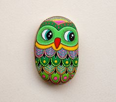 RESERVED Hand Painted Stone Owl by ISassiDellAdriatico on Etsy