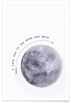 I love you to the moon  back | art print