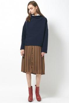 プリーツベルテッドスカート / pleats stripe skirt on ShopStyle