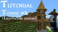 Minecraft Tutorial: How to build a medieval tower (lighthouse design) (V...
