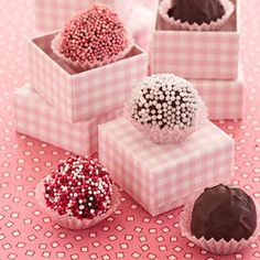 Peanut Butter Balls. Cute candies for girl baby shower or, valentines day!