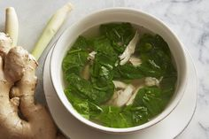 Detox soup 2 bone-in chicken breasts, about 1 ½ pounds 3 stalks lemongrass, trimmed and pounded 1 (4-inch) piece ginger, sliced 1 carrot, peeled and cut into large pieces 1 celery stalk, cut into large pieces 1 shallot, peeled and halved 1 bay leaf ½ teaspoon black peppercorns 1 dried Thai chile 1 teaspoon kosher salt 6 cups cold water 1 (5-ounce) package baby spinach, washed and roughly chopped Whole 30 Recipes, Lean Recipes, Healthy Recipes, Healthy Options, Healthy Meals, Detox Recipes, Soup Recipes, Chicken Recipes, Giada Recipes