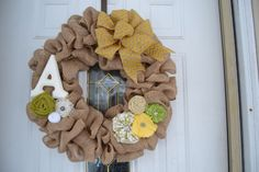 Spring Burlap Wreath - with green, white, and yellow handmade flowers - summer wreath $60
