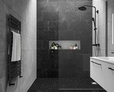 Grey Slate Bathroom, Small Dark Bathroom, Black Tile Bathrooms, Gray Shower Tile, Master Bathroom Shower, Bathroom Tile Designs, Bathroom Design Luxury, Modern Bathroom Design, Dark Tiled Bathroom
