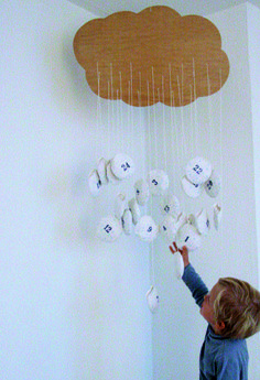 DIY Cloud Advent Calendar by Zenzi Design    via Kickcan & Conkers