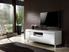 Alghero Contemporary 2 Door 1 Drawer Retro TV Unit in White High Gloss Finish