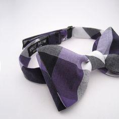 Purple & Black Check bow tie