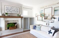 The Lettered Cottage | Living Room | Stikwood-faced built in cabinety and fireplace