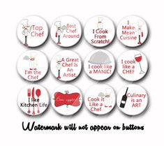 Culinary Arts Chef Cooking  Pin Back Button Party Favors  1.25 inch Buttons pins badges Party gifts