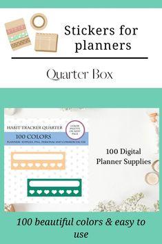 100 Quarter Box Daily Habit Tracker, Sidebar Sticker Planner Supplies, Logo Background, Journal Cards, Resume Templates, School Design, Planner Stickers, Paper Cutting, Design Bundles, Planners