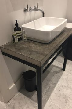 (Shelf for counter top sink) still frame, frame shelf, metal pipe, concrete Frame Shelf, Diy Frame, Diy Bathroom Decor, Bathroom Interior, Still Frame, Metal Pipe, Concrete Countertops, Box Frames, Shelves