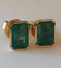 AAA 4.10ct COLOMBIAN NATURAL GREEN EMERALD STUD EARRINGS 18K YELLOW GOLD #Stud