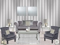 #HomeInspo @Sophies_Interiors ♥️ Kensington Textured Stripe Wallpaper in Silver