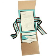 5 x 7 Vertical Folio Wedding Invitations  - 3 Layers