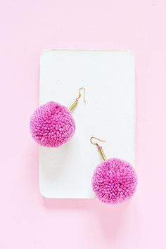 Learn how to make fun pom pom brass earrings in no time with an elaborate step by step tutorial ( video available )