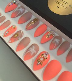 Nude to Neon Summer Stiletto Press On Nails   Real Swarovski   Gold accents   Handpainted Palm Trees   Fake False Nails   Nail Art Design