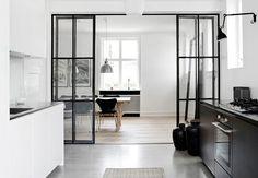 thin black metal frame glass doors ❥