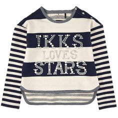Loose cut light stretch fleece top made of cotton and elastane blend. Round neck and long sleeves. Buttons on the left shoulder. Fancy stripes on the front, in the back and on the sleeves. IKKS logo print on the chest; Hand wash only. - 57,00 €