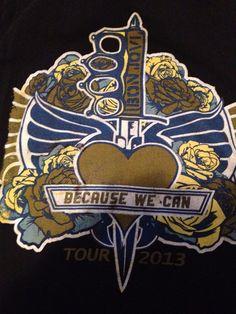 Bon Jovi Concert Tour Black T shirt 2013 Because We Can Nike sz Large