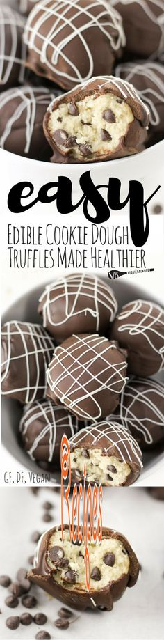 Edible Cookie Dough Truffles recipe and How To Make them Healthy, Gluten-Free, Dairy-Free and Lower-sugar! Made edible and egg-less with only 7 simple ingredients!  Follow us for more Recipes in our website : http://best-recipes0.blogspot.com/
