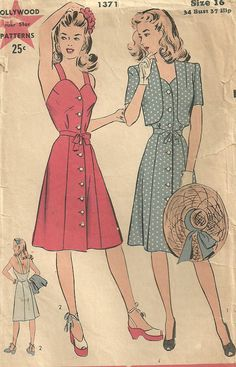 Hollywood 1371 Vintage 40s Sewing Pattern Sundress And Bolero Size 16 Bust 34