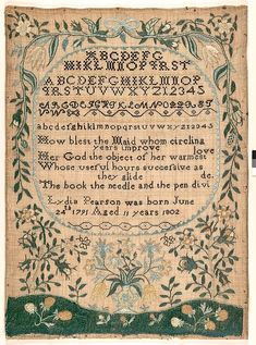 Embroidered sampler Maker: Lydia Pearson  (born 1791) Date: 1802 Geography: New England, Newburyport, Massachusetts, United States Culture: American Medium: Embroidered silk on linen Dimensions: 17 x 12 in. (43.2 x 30.5 cm)