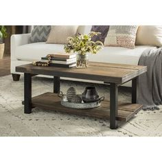 Mistana Veropeso 42 Wood/Metal Coffee Table with Tray Top, Rectangular Coffee Table, Decor, Table, Livingroom Layout, Glass Top Coffee Table, Furniture, Coffee Table Wood, Stone Coffee Table, Coffee Table