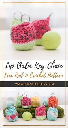 This makes a cute and quick gift! Plus no more losing your lip balm and having it roll across the floor with this free key chain knit or crochet pattern.