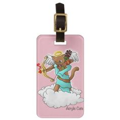Valentine's Day Chocolate Brown Cupid Cat Luggage Tag - cat cats kitten kitty pet love pussy