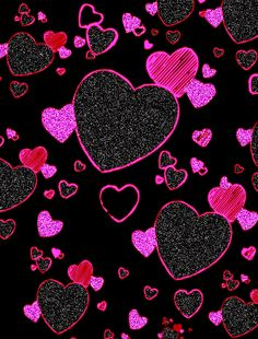 hearts background | glitter-blck-pink-hearts-bkgd.gif