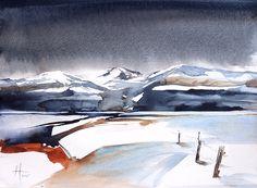 Watercolour painting. Abstract Landscape on 200lb Langton paper. 40cms x 30cms