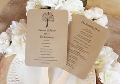 Instant download DIY printable wedding fan program. This program features a beautiful rustic tree. The sample shown was printed on kraft card stock