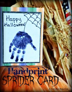 Easy Halloween Card for kids ~ Hand Print Spider Card