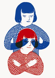 red and blue by amelie fontaine linogravure? Illustration Rouge, Illustration Design Graphique, Gravure Illustration, Art Graphique, Graphic Illustration, Graphic Art, Atelier Theme, Silkscreen, Arte Popular
