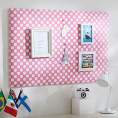 bulletin board to hang above tall dresser   Dot Pin-It Pinboard, Pink | PBteen
