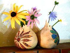 Broken tops?  Make gourd vases!