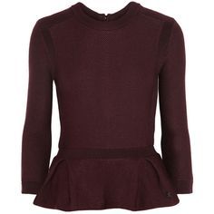 Burberry London Textured-knit peplum sweater (3480 MAD) ❤ liked on Polyvore featuring tops, sweaters, shirts, burberry, blouses, burgundy, zip top, peplum tops, burberry sweater and burgundy top