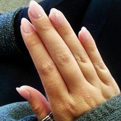 Almond shape, nude nails.