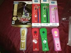 nintendo special edition wiimotes mario zelda luigi and peach. ready for mario kart 8 and a new zelda game hopefully the end of this year or early 2015