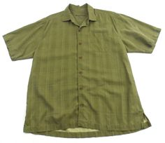 Tommy Bahama Green Button Up 100% Silk Camp Shirt Large L Plaid Short Sleeve #TommyBahama #ButtonFront